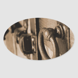 Rustic Antique Door Handle Pull and Latch Sepia Oval Sticker