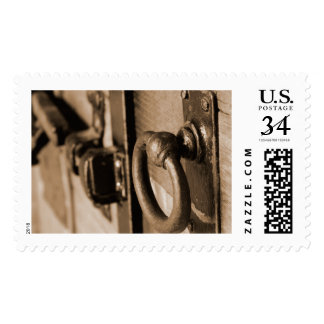 Rustic Antique Door Handle Pull and Latch Sepia Postage
