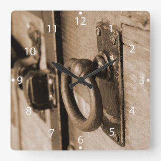 Rustic Antique Door Handle Pull and Latch Sepia Square Wall Clock