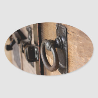 Rustic Antique Door Pull and Latch Oval Sticker