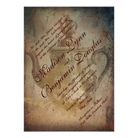 Rustic Antique English Teapot Wedding Invitations