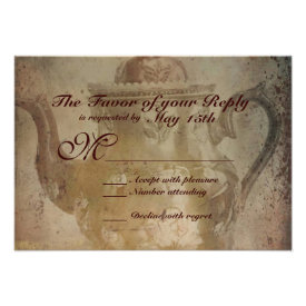 Rustic Antique English Teapot Wedding RSVP Cards