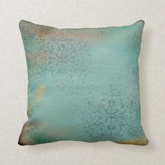 Rustic Antique Farmhouse Style Teal Lace Pillow