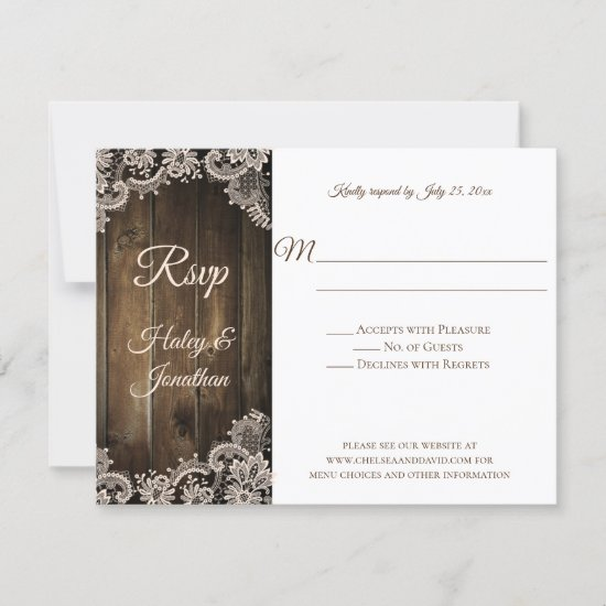 Rustic Antique Lace and Barn Wood RSVP
