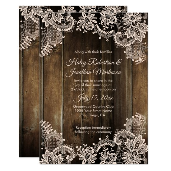 Rustic Antique Lace and Barn Wood Wedding Invitation
