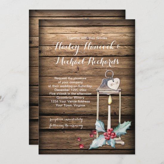 Rustic Antique Lantern Holly Christmas Wedding Invitation