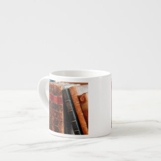 Rustic Antique Library Books Shelf Espresso Cup