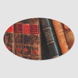 Rustic Antique Library Books Shelf Oval Sticker