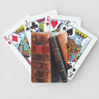 Rustic Antique Library Books Shelf Bicycle Playing Cards