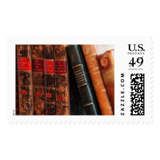Rustic Antique Library Books Shelf Postage Stamp