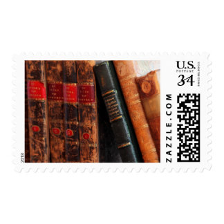 Rustic Antique Library Books Shelf Stamp