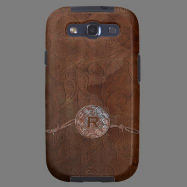 Rustic Antique Look Embossed Leather Monogram Samsung Galaxy S3 Case