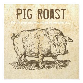 Rustic Antique Pig Roast Invitations