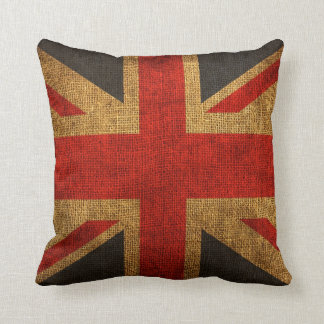 Rustic Antique Union Jack Pattern Throw Pillow