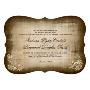 Rustic Antique Vintage 5x7 Wedding Invitations