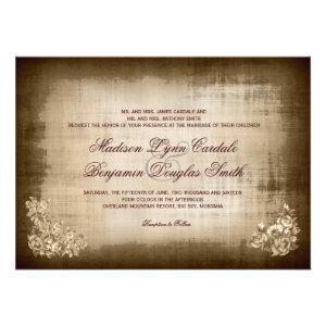 Rustic Antique Vintage Brown Wedding Invitations