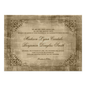 rustic antique vintage frame wedding invitations