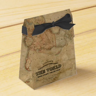 Rustic Antique Vintage Old World Map III Favor Box