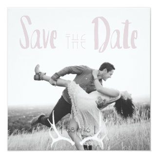 Rustic Antler Art Graphic Square Save the Date Card