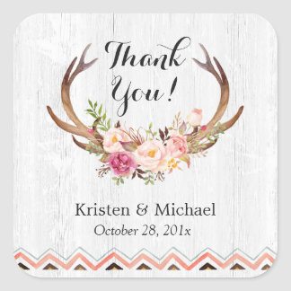Rustic Antler Boho Floral White Wood Thank You Square Sticker