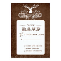 Rustic Antler, Deer Winter Woodland  rsvp 3.5 x 5 Card