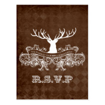Rustic Antler, Deer Winter Woodland rsvp Postcard