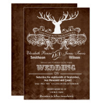 Rustic Antler Deer Winter Woodland wedding Card