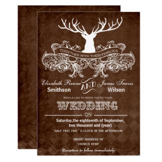 rustic antler deer winter woodland wedding card - Deer Wedding Invitations