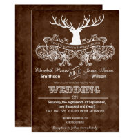 Rustic Antler Deer Winter Woodland wedding Invitation