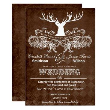 Rustic Antler, Deer Winter Woodland wedding invite