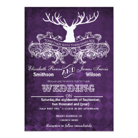 Rustic Antler, Deer Winter Woodland wedding invite 5