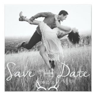 Rustic Antler Graphic | White Save the Date Card