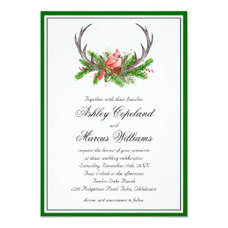 Rustic Antlers and Cardinal Wedding Invitation