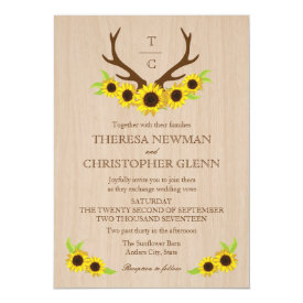 Rustic Antlers and Sunflowers Wedding Invitation
