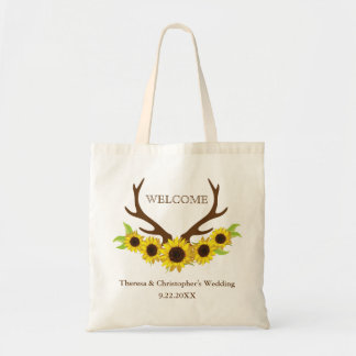 Rustic Antlers and Sunflowers Wedding Tote Bag