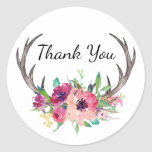 Rustic Antlers Boho Floral Allure Classic Round Sticker