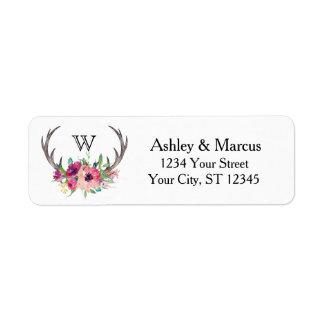 Rustic Antlers Boho Floral Allure Label