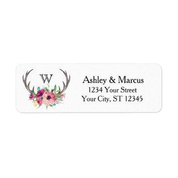 oasis_landing Rustic Antlers Boho Floral Allure Label