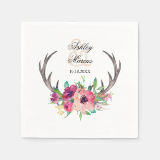 Rustic Antlers Boho Floral Allure Paper Napkin at Zazzle