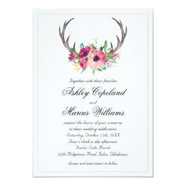 oasis_landing Rustic Antlers Boho Floral Allure Wedding Card