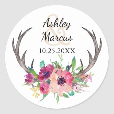 oasis_landing Rustic Antlers Boho Floral Allure Wedding Classic Round Sticker