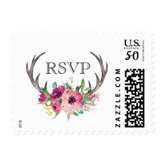 Rustic Antlers Boho Floral RSVP Postage