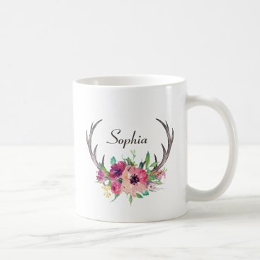Coffee Themed Rustic Antlers Boho Floral with Monogram Coffee Mug