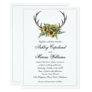 Rustic Antlers Boho Sunflowers Floral Wedding Card