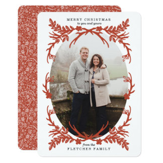 Rustic Antlers Christmas Photo Card