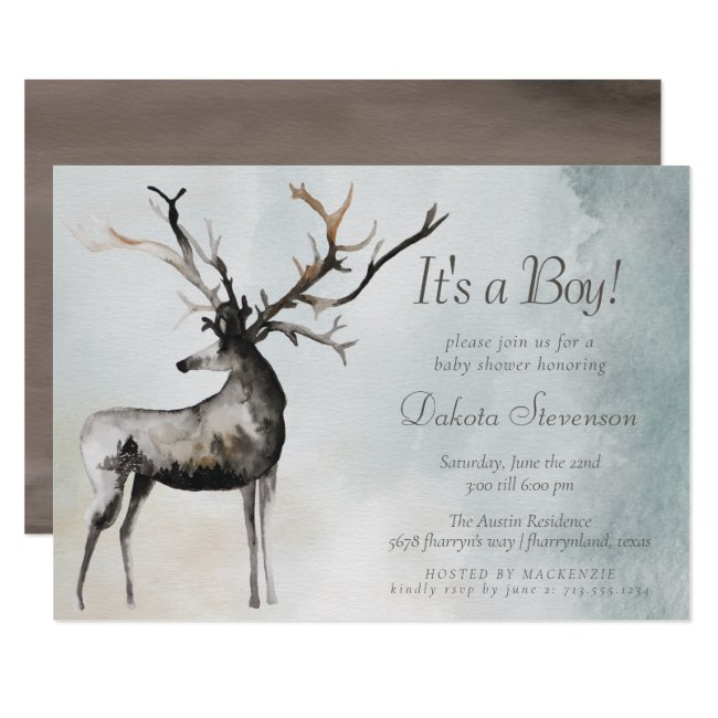 Rustic Antlers | Ethereal Woodland Baby Boy Shower Invitation