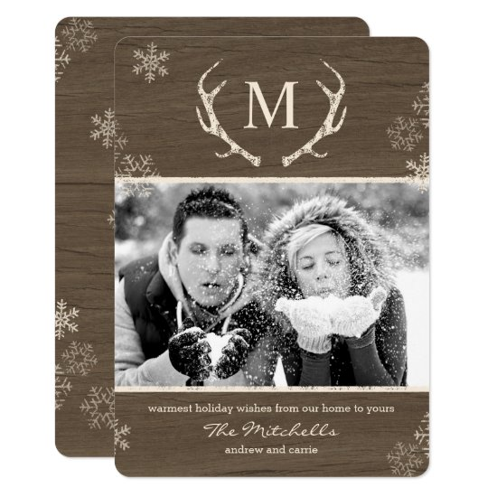 Rustic Antlers Holiday Photo Card Christmas Card