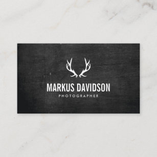 rustic antlers on black wood photographers craft business card - Craft Business Cards