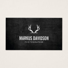 Rustic Antlers On Black Wood Photographers, Craft Business Card at Zazzle