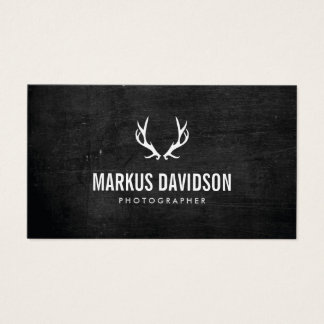 Rustic Antlers on Black Wood Photographers, Craft Business Card